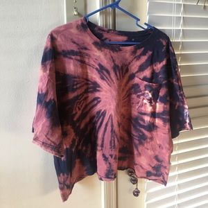 Mushroom bleach dyed crop top